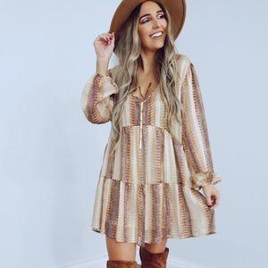 Snake Skin Brown/Gold Dress